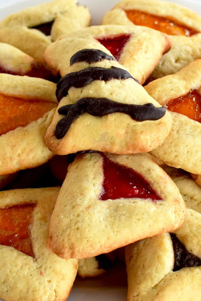 Close up of jelly and chocolate Hamantaschen