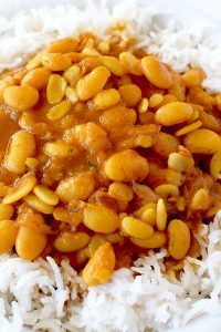 Israeli rice and beans in a white bowl