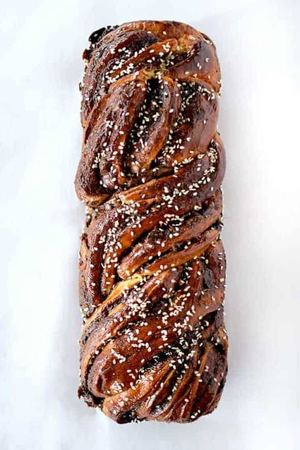 Bridseye view of chocolate babka sprinkled with sesame seeds