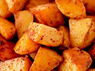 Close up of potatoes roasted with paprika