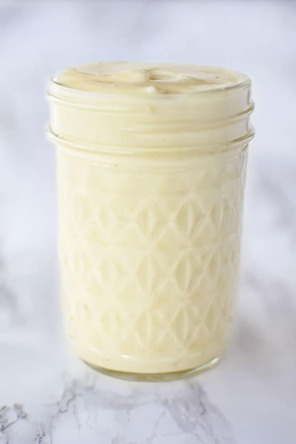 Homemade mayonnaise in mason jar