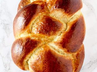 Challah bread on marble counter