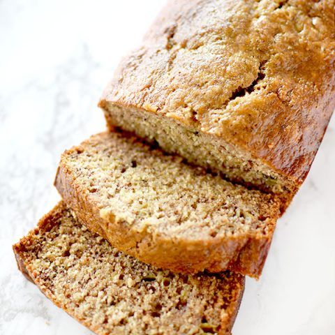 Sliced banana bread made with oil not butter