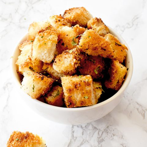 croutons in a white bowl