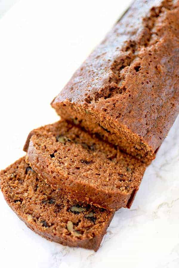 cut sweet potato bread with walnuts