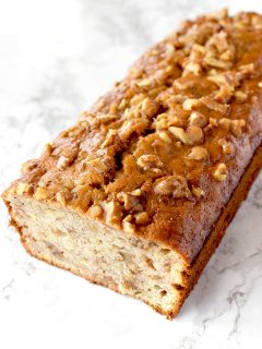 banana nut bread on a marble counter