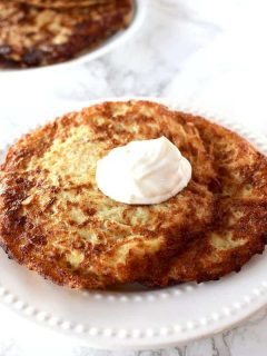 Latkes with a dollop of sour cream