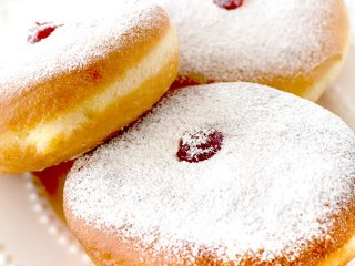 Sufganiyot on a white plate