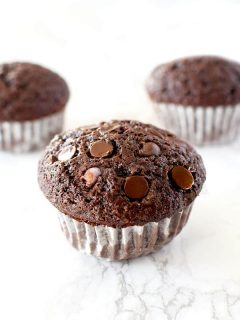 three double chocolate chip muffins