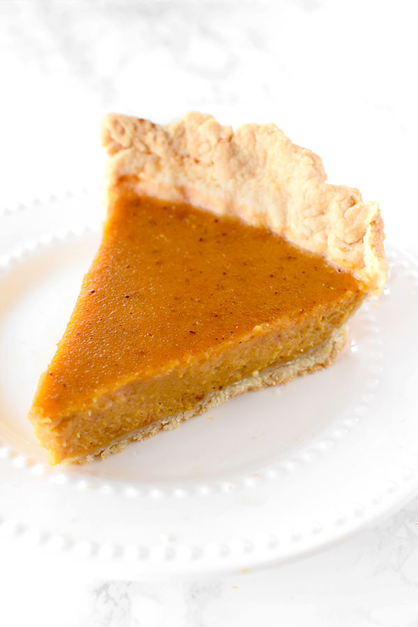 Dairy free pumpkin pie using an oil crust