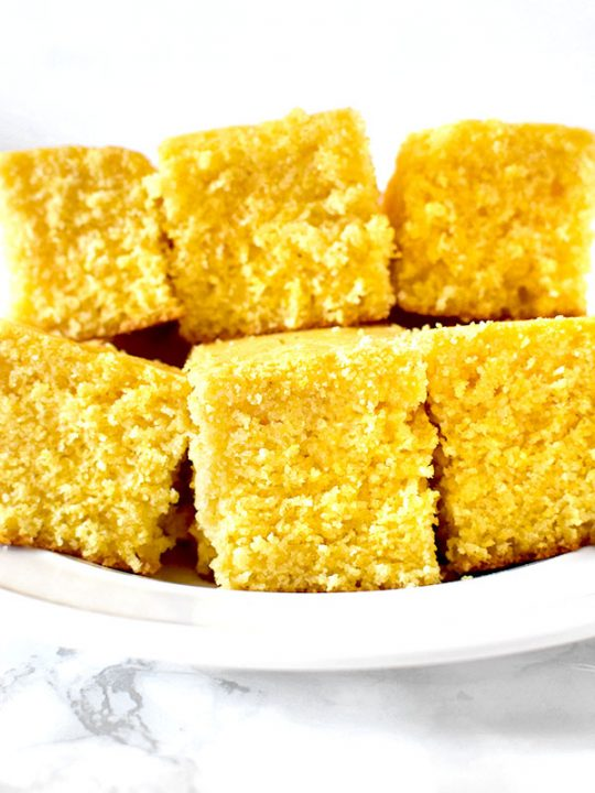 Square sweet cornbread on a plate