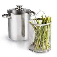 Cook N Home 4 Quart 3-Piece Vegetable Asparagus Steamer Pot