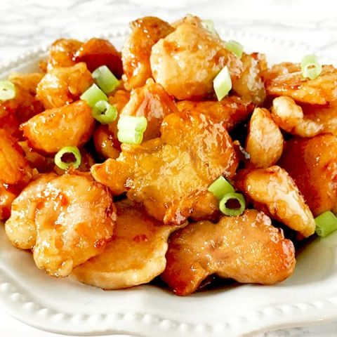 A plate of panda express (copycat) orange chicken