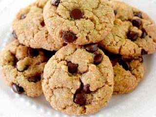 A pile of dairy free chocolate chip cookies on a plate