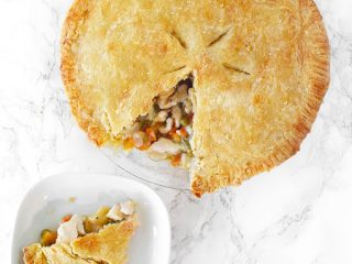 dairy free chicken pot pie with a slice on a plate