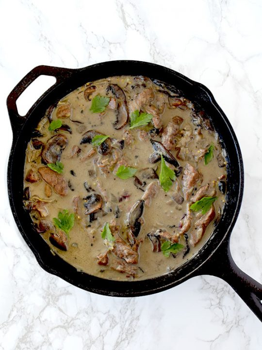 dairy free beef stoganoff using coconut milk in a cast iron skillet