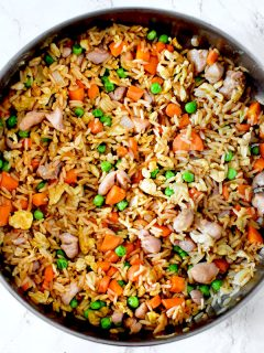 Chicken fried rice in a skillet