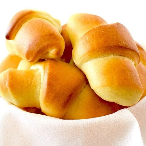 Crescent dinner rolls in a bowl
