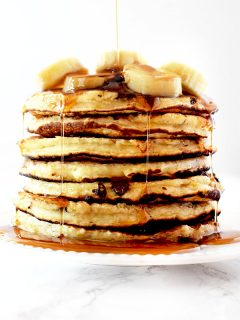 stack of banana chocolate chip pancakes