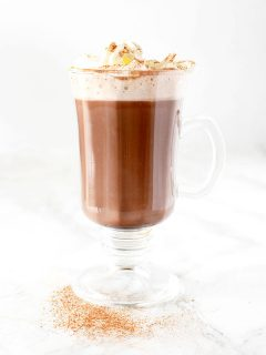 Dairy free hot chocolate with whipped cream and cinnamon