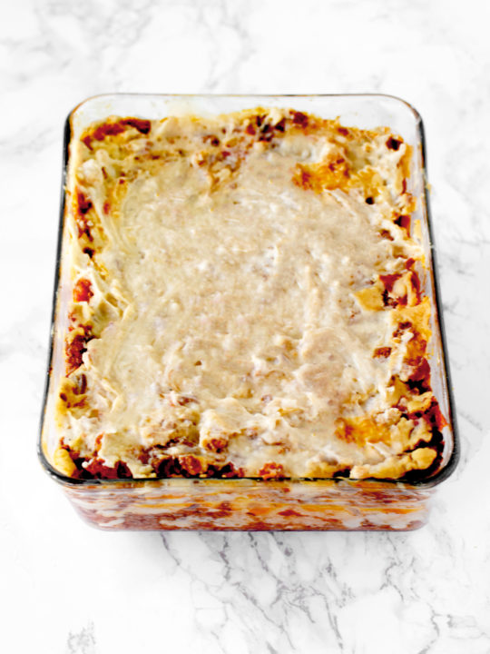 dairy free Italian lasagna on a white marble counter